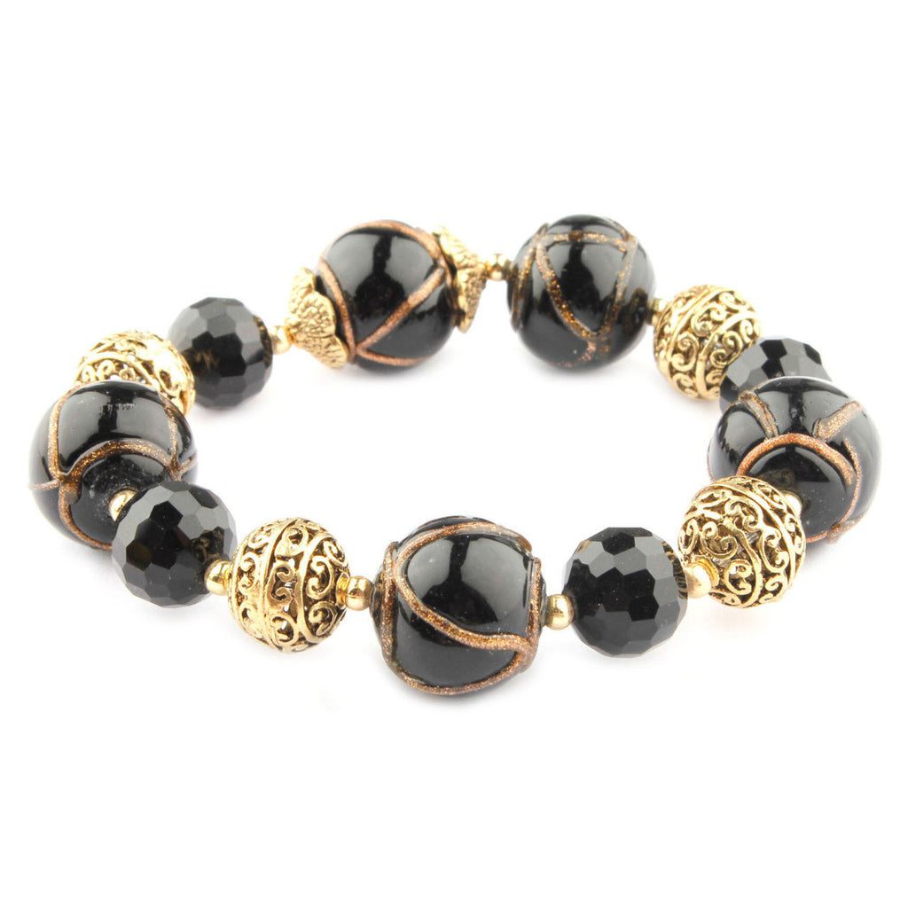 Cleo Collection Black Murano Glass Stretch Bracelet