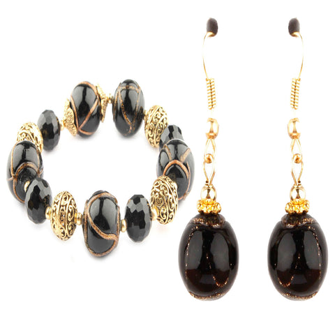 Cleo Black Murano Glass Bracelet and Earrings Set