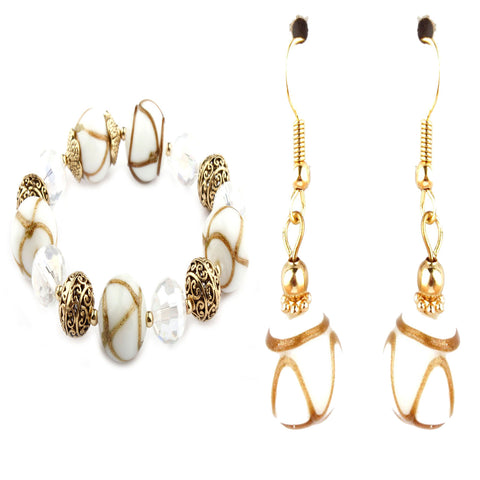 Cleo White Murano Glass Bracelet and Earrings Set