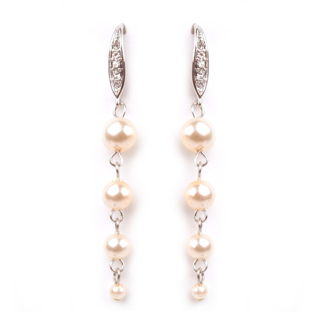 Pearl Collection Cream 4 Pearl Dangle Earrings