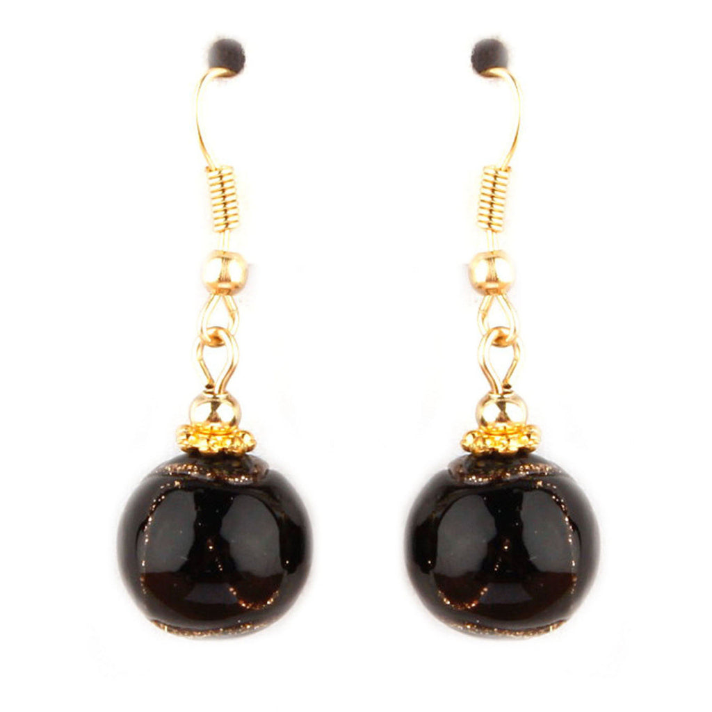 Cleo Collection Black Murano Glass Earrings