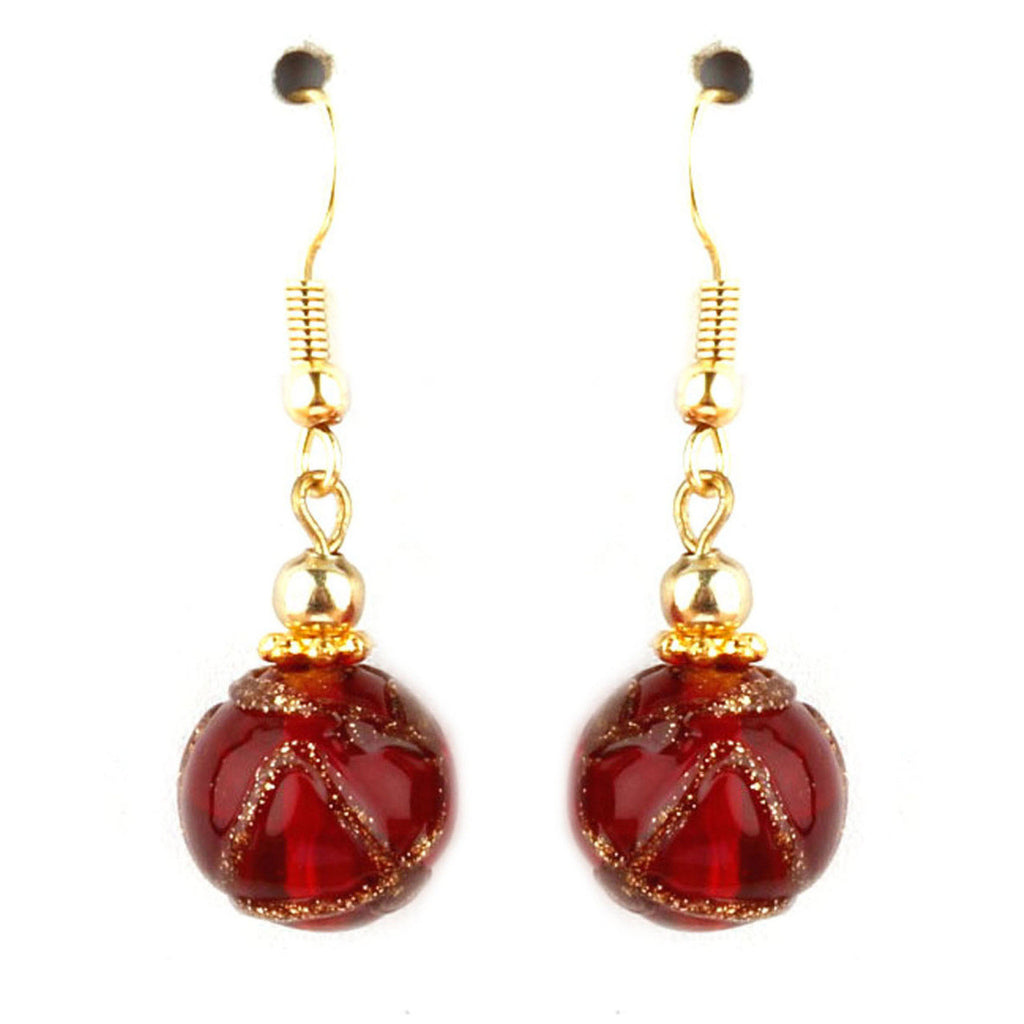 Cleo Collection Red Murano Glass Earrings