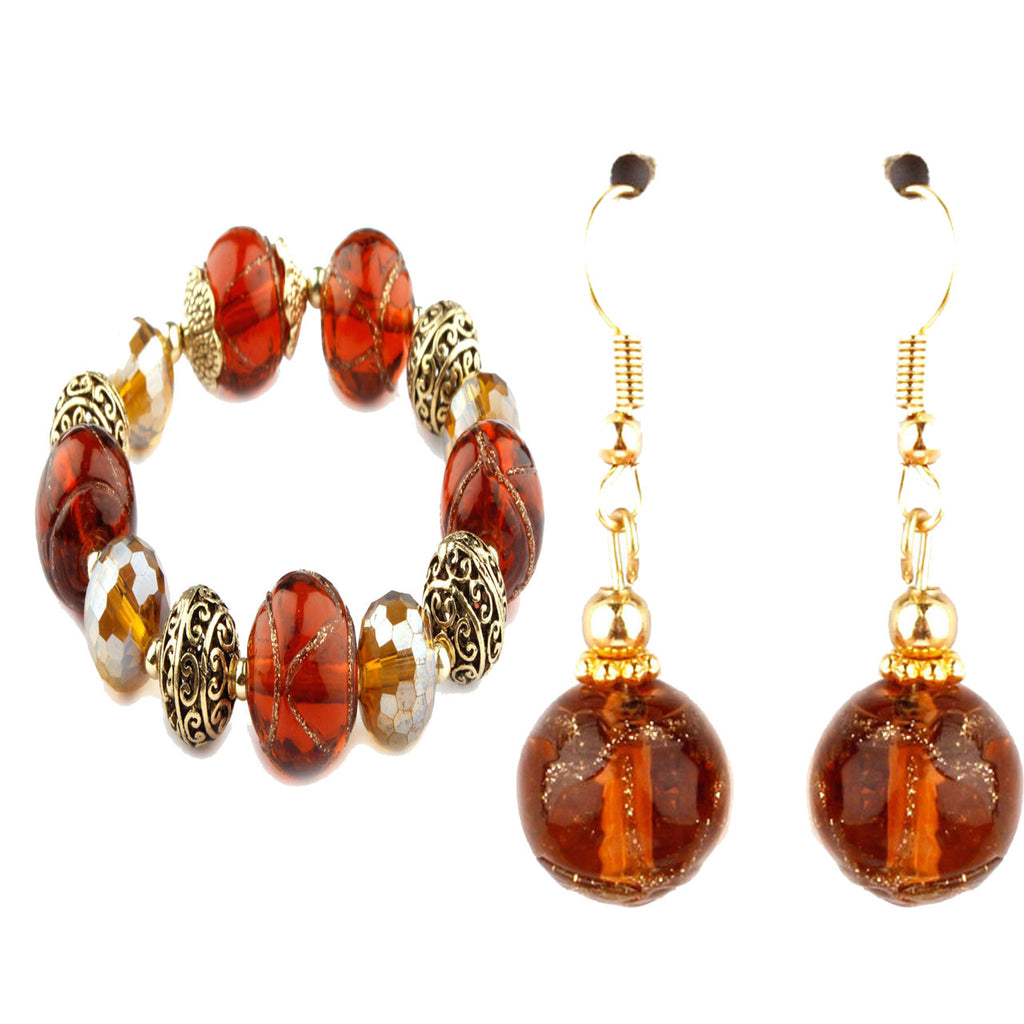 Cleo Amber Murano Glass Bracelet and Earrings Set
