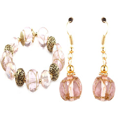 Cleo Pink Murano Glass Bracelet and Earrings Set