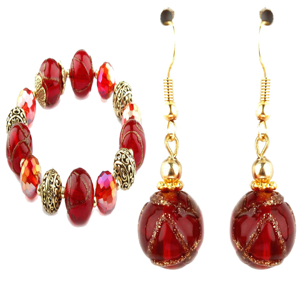 Cleo Red Murano Glass Bracelet and Earrings Set