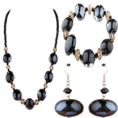Luna Black Set (Bracelet, Necklace & Earrings)