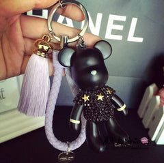 Handmade DIY Craft Rhinestone Bomgom Tassels Cartoon Popobe Gloomy Bear Keychain Cute Bag Charm Holder Cartoon Resin Key Chain