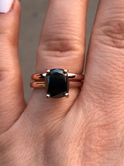 10x8mm Cushion Cut Natural Black Diamond Bridal Set 14K Rose Gold Wedding Ring Marraige Bridal Fine Jewelry Elegant Gemstone Unique -V1132