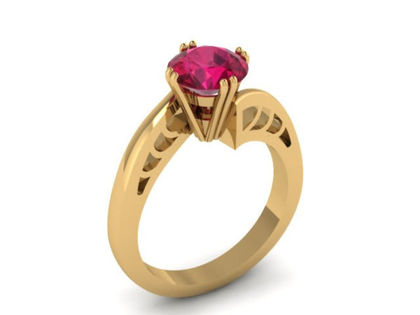 Ruby Engagement Ring in 14K Yellow Gold Wedding Ring with 7mm Round Red Ruby Center Gemstone Fine Jewelry Gifts-V1093