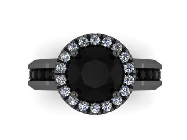Black Diamond Engagement Ring Unique Gemstone Engagement Fine Jewelry 14K Black Gold Ring with 7mm Round Natural Black Diamond Center- V1032