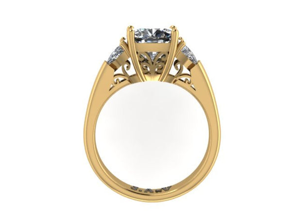 Three Stone Moissanite Engagement Ring 14k Yellow Gold Forever Brilliant Cushion Cut Moissanite Center And Two Trillion Side Stones V1107
