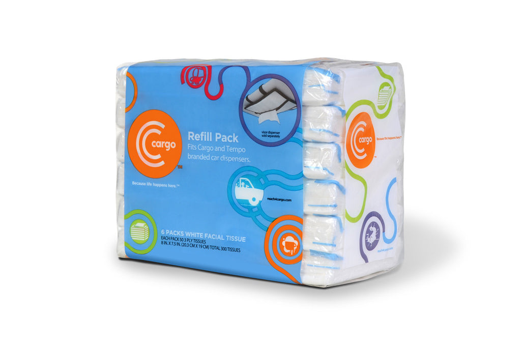 Cargo Tissues Refill Pack: 6-count facial tissue packs for Cargo car visor dispenser