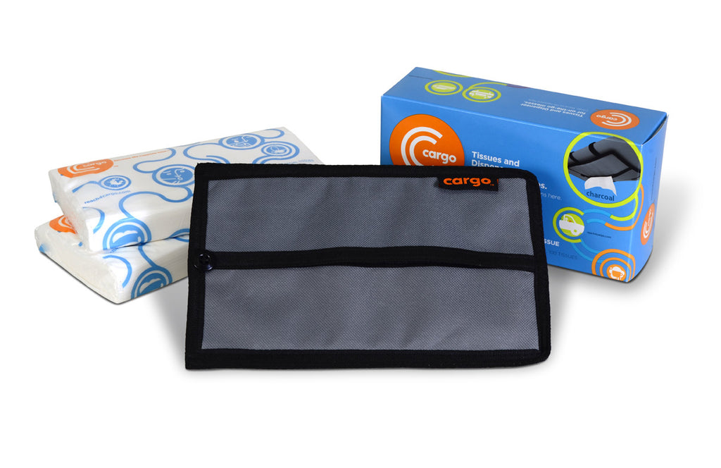Cargo Starter Kit: Tissues + Dispenser for your car (Charcoal)