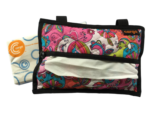 Cargo Tissue Dispenser (Quilted) Pink Floral Swirl