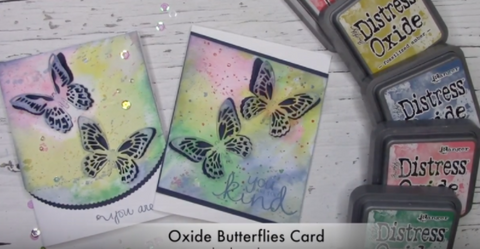 Distress Oxide Ink for a Butterfly Diecut Cardmaking Class