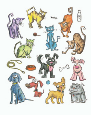 Stampers Anonymous  Mini Cats and Dogs Stamp Set.