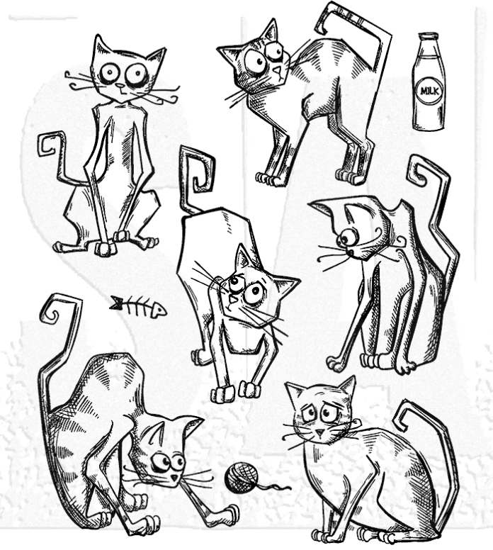 Stampers Anonymous Tim Holtz Crazy Cats Stamps