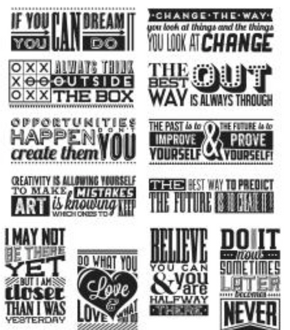 "Tim Holtz Cling Stamps 7""X8.5"" Mini Motivation"