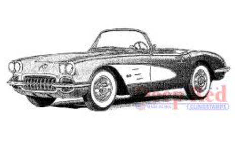 Deep Red Classic Corvette Stamp