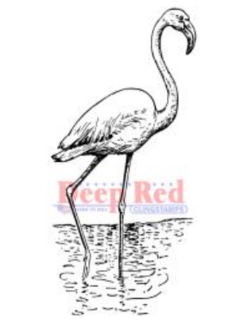 Deep Red Flamingo Stamp