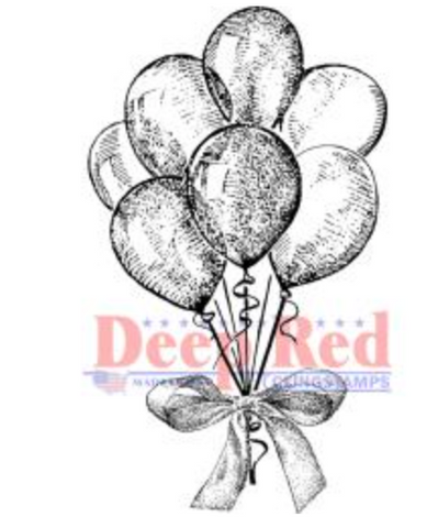 Deep Red Party Balloons Stamp