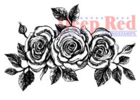 Deep Red  Rose Border Stamp