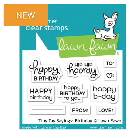 Lawn Fawn Tiny Tags Sayings Birthday Stamp Set