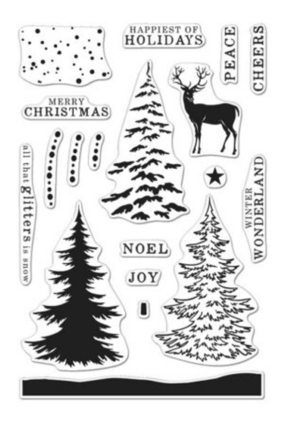 Hero Arts Coloring Layering Snowy Tree stamp set