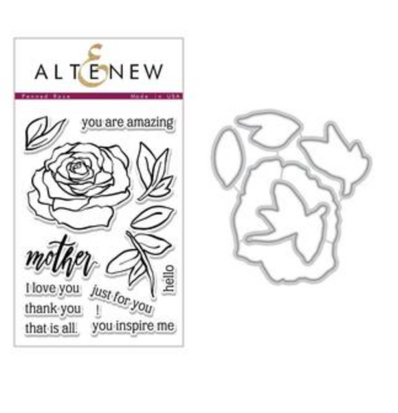 Altenew Penned Rose Stamp Set & Die Set BUNDLE