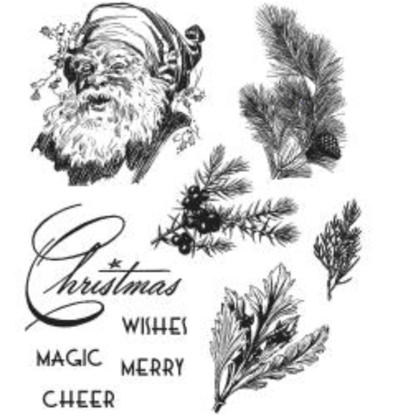 Stampers Anonymous Tim Holtz Cling Mounted Stamps Christmas Classic