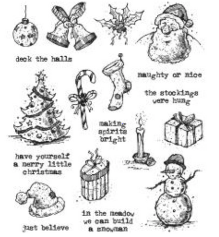 Stampers Anonymous Tim Holtz Cling Mounted Stamps: Tattered Christmas