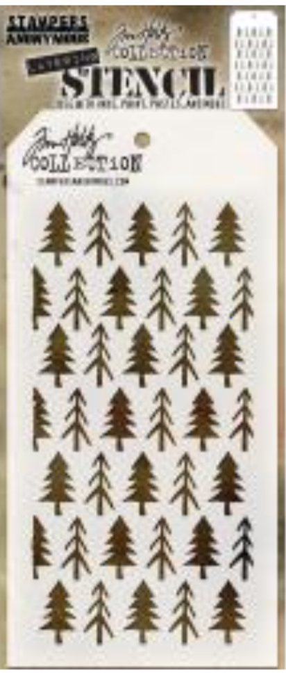 Stampers Anonymous Tim Holtz Cling  Layering Stencil Pines