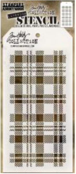 Stampers Anonymous Tim Holtz  Layered Stencil Plaid