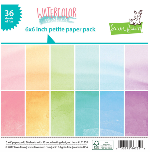 Lawn Fawn 6 x 6 paper pad  watercolour (36 pages)