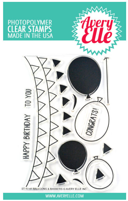 Avery Elle Balloons & Banners Clear Stamp Set