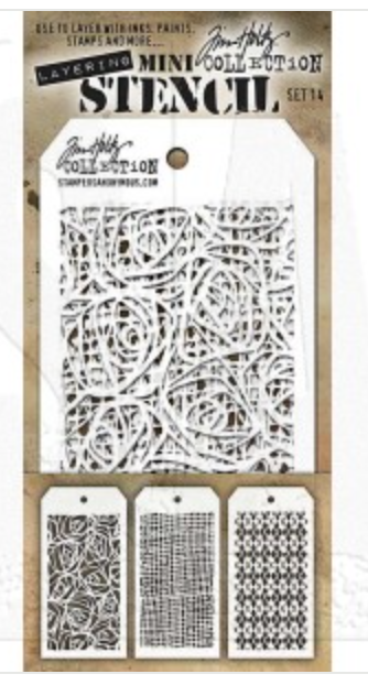 Stampers Anonymous Tim Holtz Cling Mini Layered Stencil Set #14