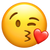 Apple's Version of Face Blowing a Kiss Emoji.