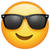 What's App Version of Smiling Face With Sunglasses Emoji.