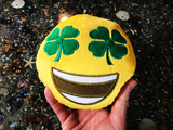 PlushMoji® Grinning Face With 4 Leaf Clover Eyes Emoji Plushie