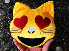 PlushMoji® Smiling Cat Face With Heart-Shaped Eyes Emoji Plushie
