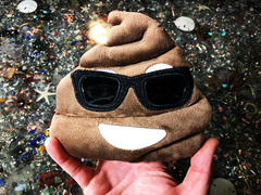 PlushMoji® Smiling Face With Sunglasses Pile of Poop Emoji Plushie