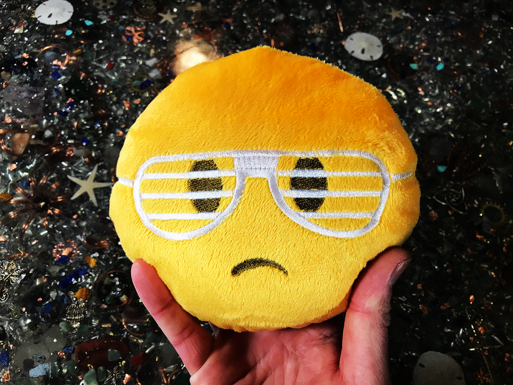 PlushMoji® Unamused Face With Shutter Shades Emoji Plushie