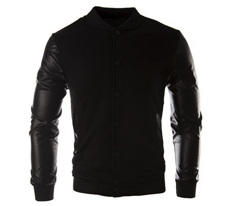 Leather Sleeved Sports Jacket