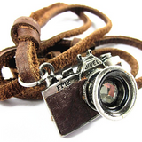 Rustic Leather Camera Necklace