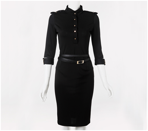 Belted Military-Style Dress