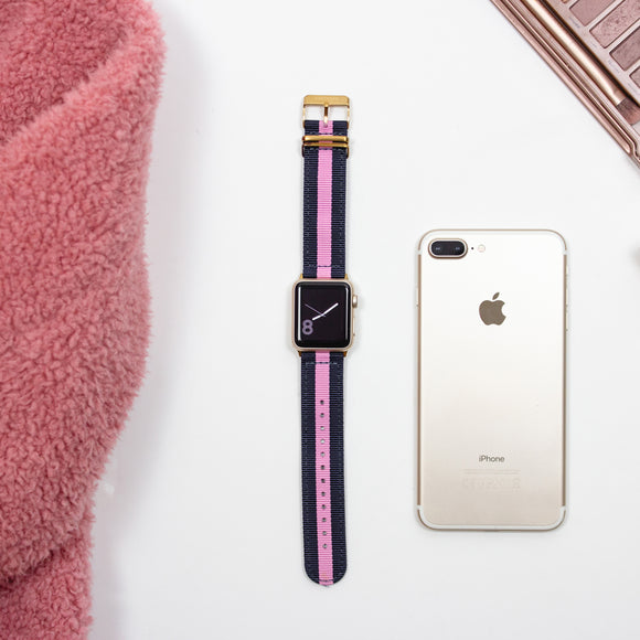 Blue and Pink Nylon Apple Watch Band