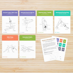 Yoga sequencing cards with asanas