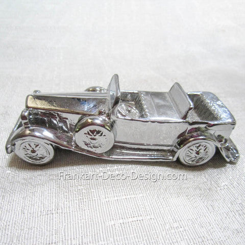 "1920s open touring car 5"" detailed model paperweight in chrome - Frankart Deco Design"