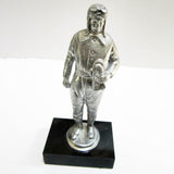 1930's Motorcyclist or pilot sanded aluminum hood ornament or figurine - Frankart Deco Design