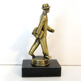 1930s businessman or lawyer in suit and Homberg hat, brass figurine